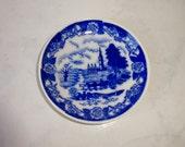 Vintage Blue White Dish Porcelain Made in Occupied Japan Saucer Trinket Dish Bowl
