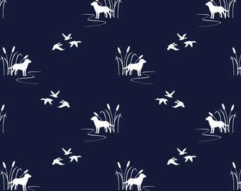 Baby Crib Rail Guard Cover - Navy Hunting Dogs with Ducks, Woodland