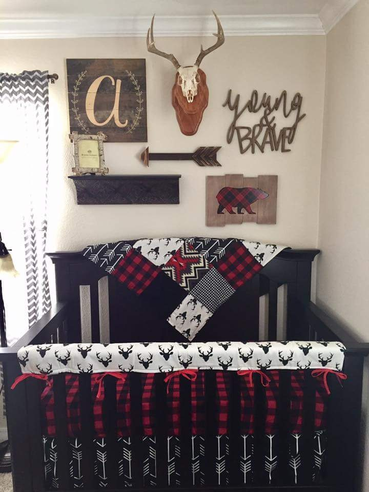 Baby Boy Crib Bedding Buck Deer Black Arrows Lodge Red