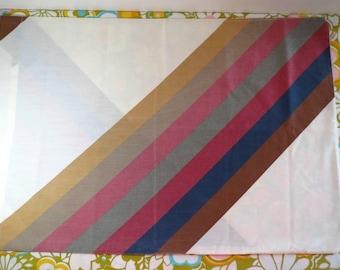 Vintage 1970s Retro Groovy MOD Rainbow Stripes Brown Blue Pink Wamsutta Pillow Case