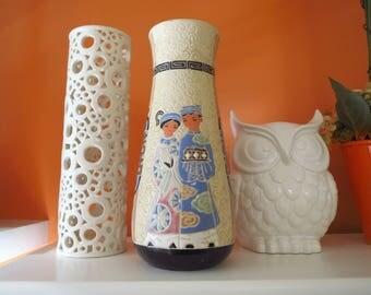 Vintage 1960s MID Century Asian Modern Signed Art Pottery Sculpture Vase Greek Key