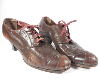 Antique Brown Leather Womens Shoes - 1940's Brown Leather Womens Heels