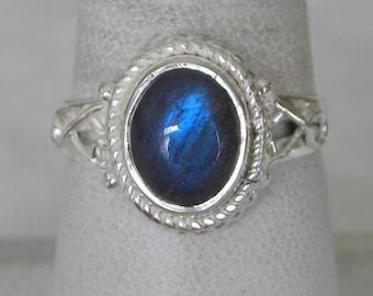 Labradorite Ring Handmade Ring Blue Flash 10x8mm Natural Gemstone Ring Sterling Silver Ring Size 7 to 10 Take 20% Off Labradorite Jewelry