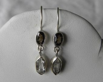 """Herkimer Diamond Earrings Handmade Earrings Rare NY Gemstone Earrings Healing 1"""" Sterling Silver Earrings Take 20% Off Fine Herkimer Jewelry"""