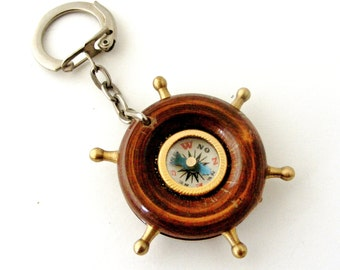 French vintage compass key chain fob