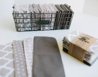 "Unpaper Towels Cloth Napkins 12 Flannel Tissues  - Choose your size (8""x 8"" or 10"" x 12"")  - 1 PLY -  Grey  Mix"