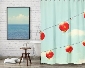 Red Chinese Lantern Decor Shower Curtain for Modern Bathroom Decor