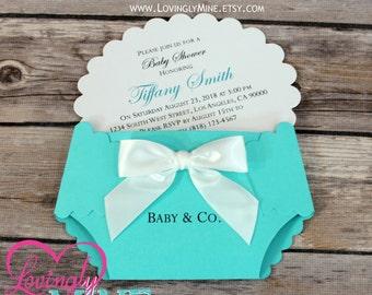 Customizable Diaper Shape Invitations - Set of 10 - Light Teal Aqua, Robin Egg Blue, Designer Inspired - Baby & Co - Custom Printed