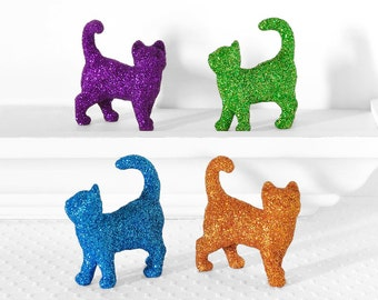 TWO Colorful Glitter Kitties YOU PICK Colors. Gift Set of 2 Cats. Fun Party or Wedding Table Decorations, Nursery Decor or Birthday Parties