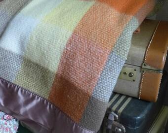 Wool Blanket by Northstar Plaid Wool Blanket Earth tones Vintage Autumn Shades Northstar Woolen Mills 80 by 90