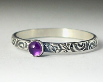 Amethyst Ring, Sterling Silver Floral Pattern Band with 3mm Amethyst, Natural Amethyst Gemstone, February Purple Gemstone Jewelry