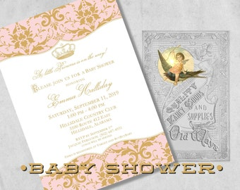 Princess Baby Shower Invitations in Gold & Pink - Vintage Crown and Damask - Custom Printed Royal Baby Girl Shower Invitations