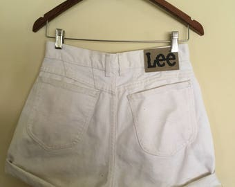 Lee cut offs - size 10 vintage shorts - cuffed 90s Womens White Jean Shorts - Lee high waisted shorts - white shorts - sz 10 Lee white deni