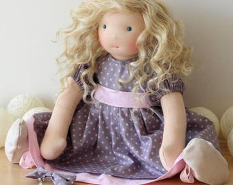 Waldorf doll, rag doll, Rose, 16.5 inches