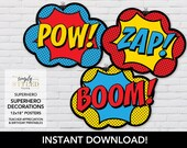 INSTANT Superhero Posters (12x18) - Superhero Teacher Appreciation and Birthday Printable Decorations