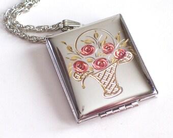 Mother's Day Gift, Floral Book Locket, Vintage Silver Locket, Etched Rose Floral Flower Basket Locket, Rectangular Locket Necklace