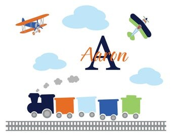 Nursery wall decals / buy wall decals / name decal / vinyl wall decal / wall decals / plane decals / train wall decal
