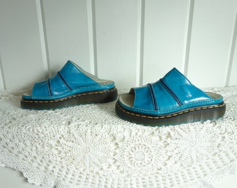 Vintage  Turquoise Patent Leather Doc Dr Martens Clogs Slides Sandals with Stars UK 3 US 5 5.5