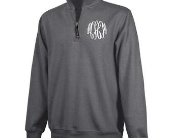 Monogrammed 1/4 Zip Pullover - Dark Charcoal Heather
