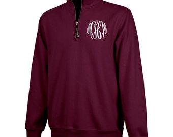 Monogrammed 1/4 Zip Pullover - Maroon