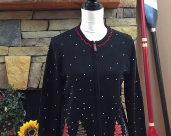 Vintage Ugly Tacky Charter Club Black Sweater Christmas Trees Beaded Front Size Medium (004)