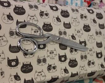 Japanese Kokka /Echino Fabric - Nono Ecole Cat (linen)