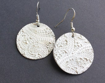 Large Round Fine Silver Earrings, Paisley Textured Dangle Earrings,gift under100,gift for women,Fine Jewelry,Handmade Original,Christmas Gif