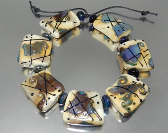 Treasure Map Lampwork Bead Set