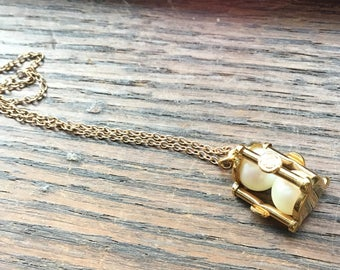 JMS gold filled real pearl hour glass necklace