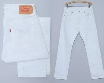 90s White Denim Levis 501 Mod Denim Jeans 33 x 32