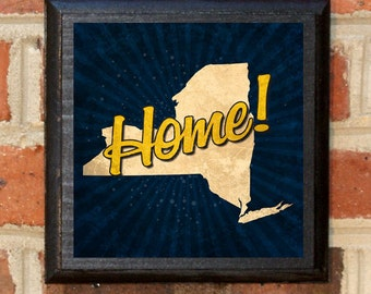 New York NY Home! Wall Art Sign Plaque Gift Present Home Decor Custom Personalized Color Vintage Style Albany Buffalo Brooklyn Classic