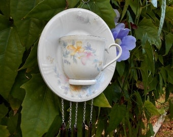 OOAK Vintage Teacup and Saucer Windchime, Handmade Garden Art, Shabby Chic Floral Glass Yard Art, Stained Glass Windchime