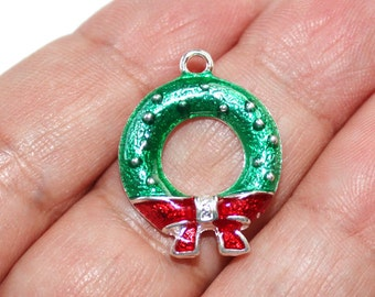 2 Christmas Wreath Enamel Silver Plated Charms - EN142