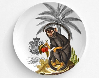 Monkey Melamine Plate, Monkey, Kitchen, decorative plate, gift, Dinner Plate