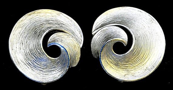"Vintage 60s CROWN TRIFARI Brushed SILVER Tone Earrings, Clip-On, Loops, Polished Silver Tone Edge, Measure 1 1/8"" Diameter, Exc. Condition."