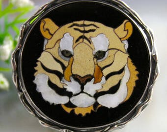 Mosaic Ring Tiger Statement Ring Sterling Silver Jewelry