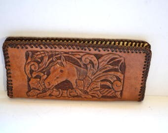 Vintage hand made wallet tooled leather deer horse floral pattern  hand made  Genuine Travel Souvenir Fathers Day gift  Mens Accesories