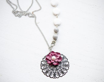 Long Necklace With Black Metal Charm and Maroon Flower