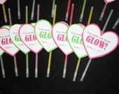 """Valentine's Day Class Gift """"You Make My Heart Glow"""" Printable DIY Treat/Bag Tag, Pink, Green"""