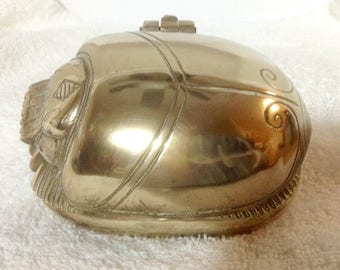 vintage brass Egyptian scarab beetle trinket box hieroglyphics bottom hinged heavy