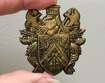 Medieval Crest Metal Stampings / Lot of 4 Shield Crests/ Coat of Arms  / Appliques