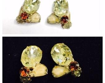 Vintage rhinestones flower clip On Earrings, multicolor, silver tone, Clearance Sale, Item No. B236