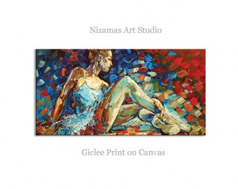 Ballerina- Abstract Art Giclee on canvas home interior DecorPaula Nizamas Ready to hang