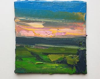 "Original 4"" x 4"" impasto landscape oil painting, fine art, thick oil paint, all prima, modern, contemporary art, perceptual painting."