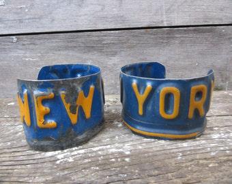 Vintage NEW YORK License Plate Bangle Cuff Bracelet Blue & Yellow Mens Womens Industrial Vintage Steel Metal Distressed Jewelry Industrial