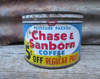 Vintage Tin Coffee Can Chase Sanborn Blue & Yellow Kitchen Metal Tin Storage Display Country Farm Retro Kitchen Rustic Primitive Vtg Old