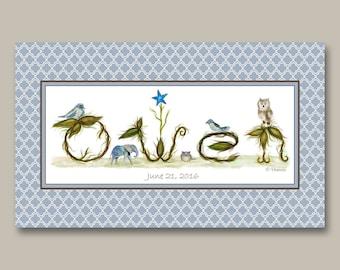 Baby Name Nursery Wall Decor - Baby Name Wall Art Name Sign - Personalized Nursery Art Name Sign - Nursery Decor Print