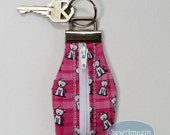 Pink Plaid Westie, Zippered Key Chain, Westie Key Chain, Westie Key Fob, Westie Accessories