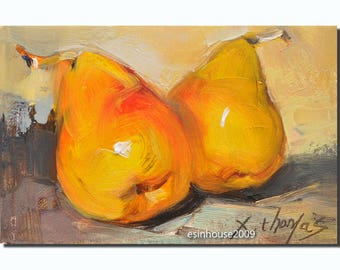 Original Pear Painting Canvas Impressionist art12x18cm by x.thomas