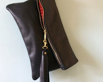 Black leather clutch bag, leather fold over clutch purse, black evening bag